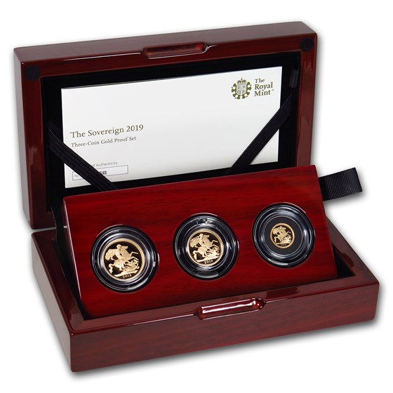2019 Great Britain 3-Coin Gold Sovereign Proof Set
