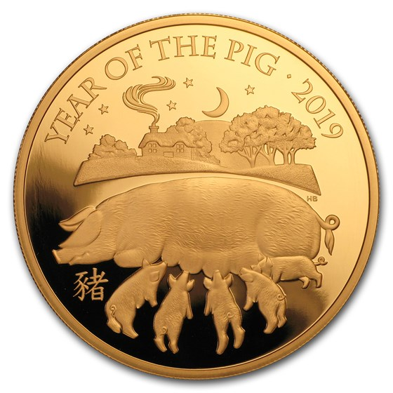 2019 Great Britain 5 oz Gold Year of the Pig Proof (Box & COA)