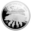 2019 Great Britain 5 oz Silver Year of the Pig Proof (Box & COA)