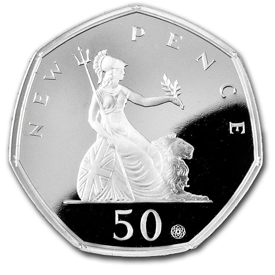 2019 Great Britain Silver 50 pence 50 Year Anniversary Proof