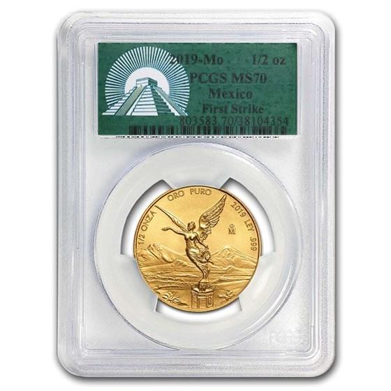 2019 Mexico 1/2 oz Gold Libertad MS-70 PCGS (FS, Green Label)