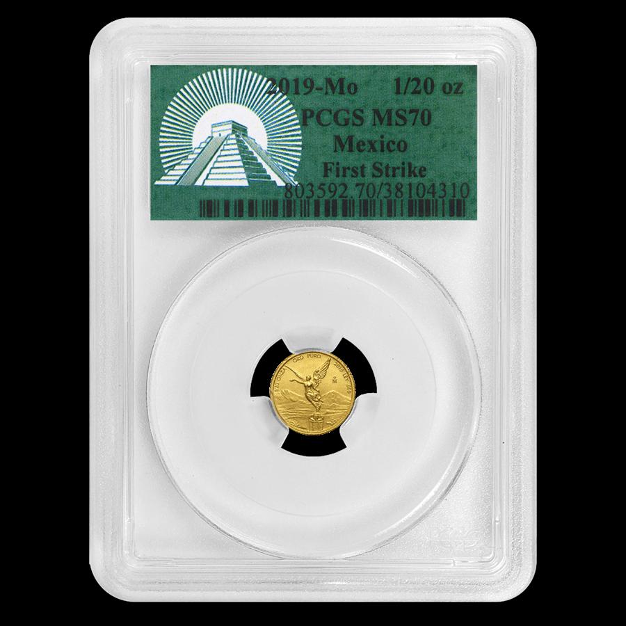 2019 Mexico 1/20 oz Gold Libertad MS-70 PCGS (FS, Green Label)