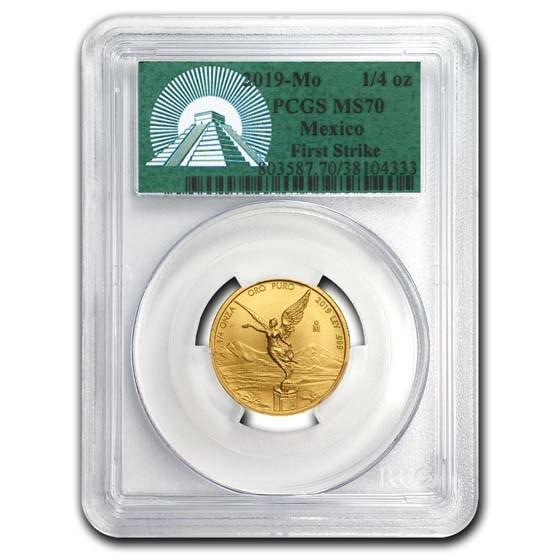 2019 Mexico 1/4 oz Gold Libertad MS-70 PCGS (FS, Green Label)