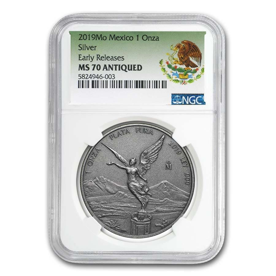 2019 Mexico 1 oz Silver Libertad Antiqued Finish MS-70 NGC (ER)