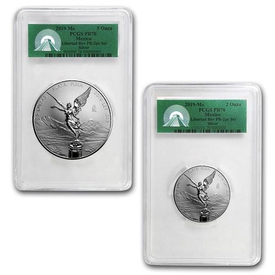 2019 Mexico 2-Coin Silver 2 oz & 5 oz Reverse Prf Set PR-70 PCGS