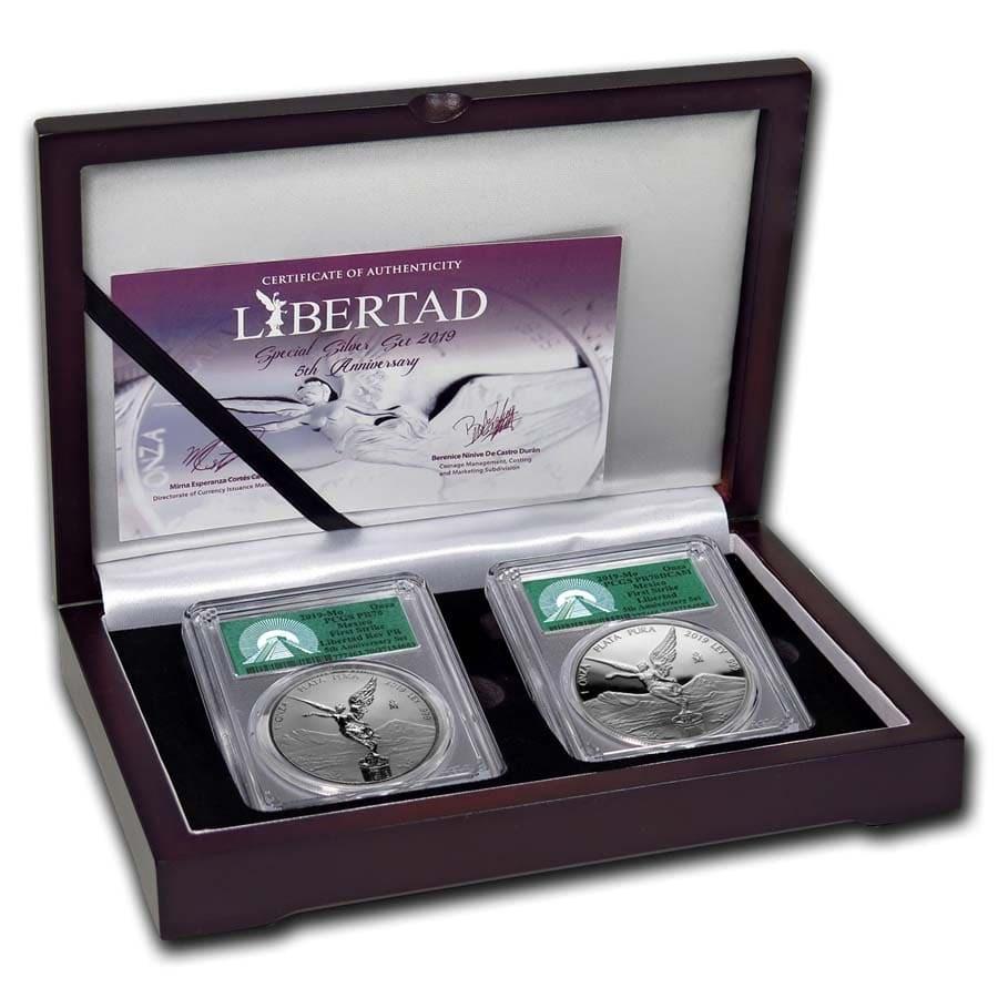 2019 Mexico 2-Coin Silver Libertad Set Proof/Reverse PR-70 PCGS