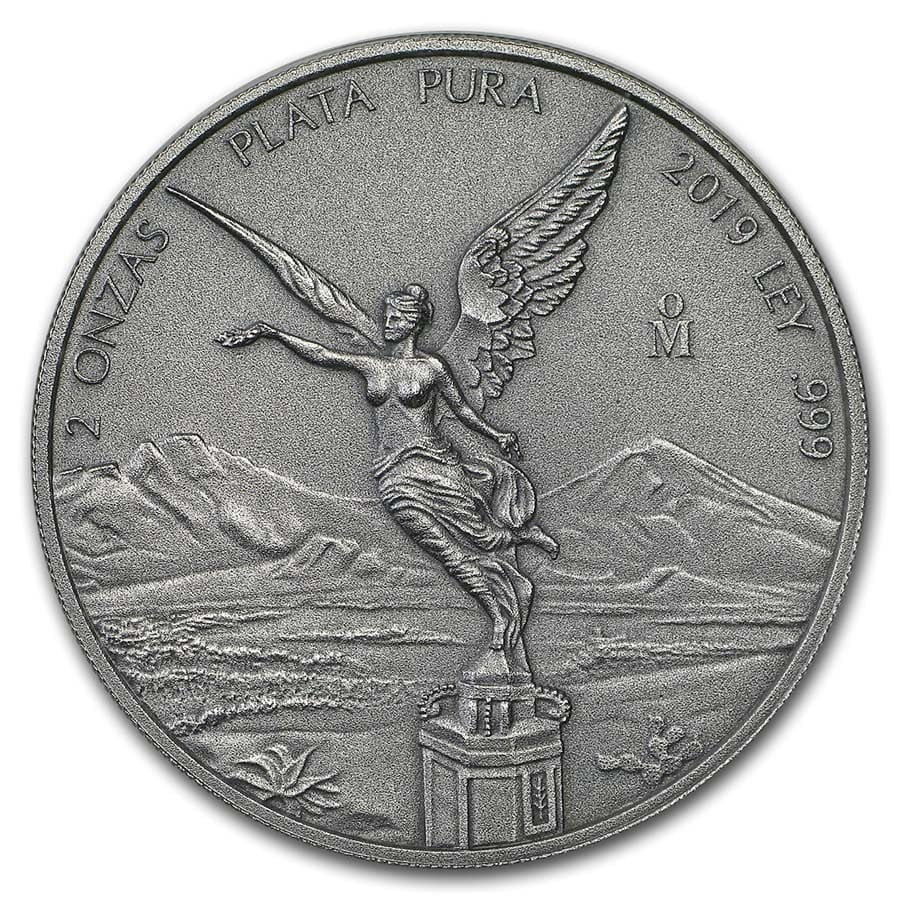 2019 Mexico 2 oz Silver Libertad Antiqued Finish (In Capsule)