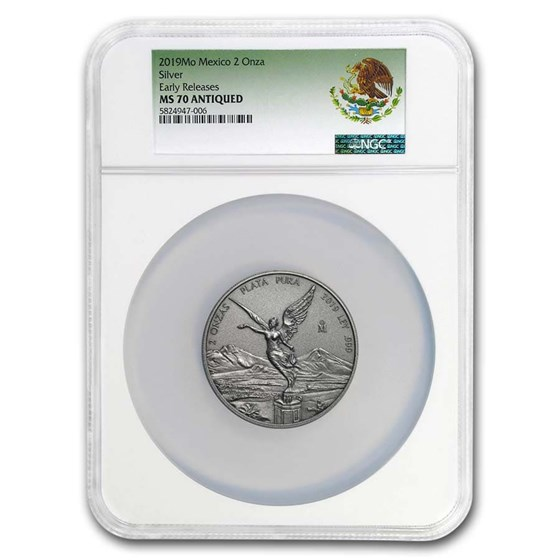 2019 Mexico 2 oz Silver Libertad Antiqued Finish MS-70 NGC (ER)