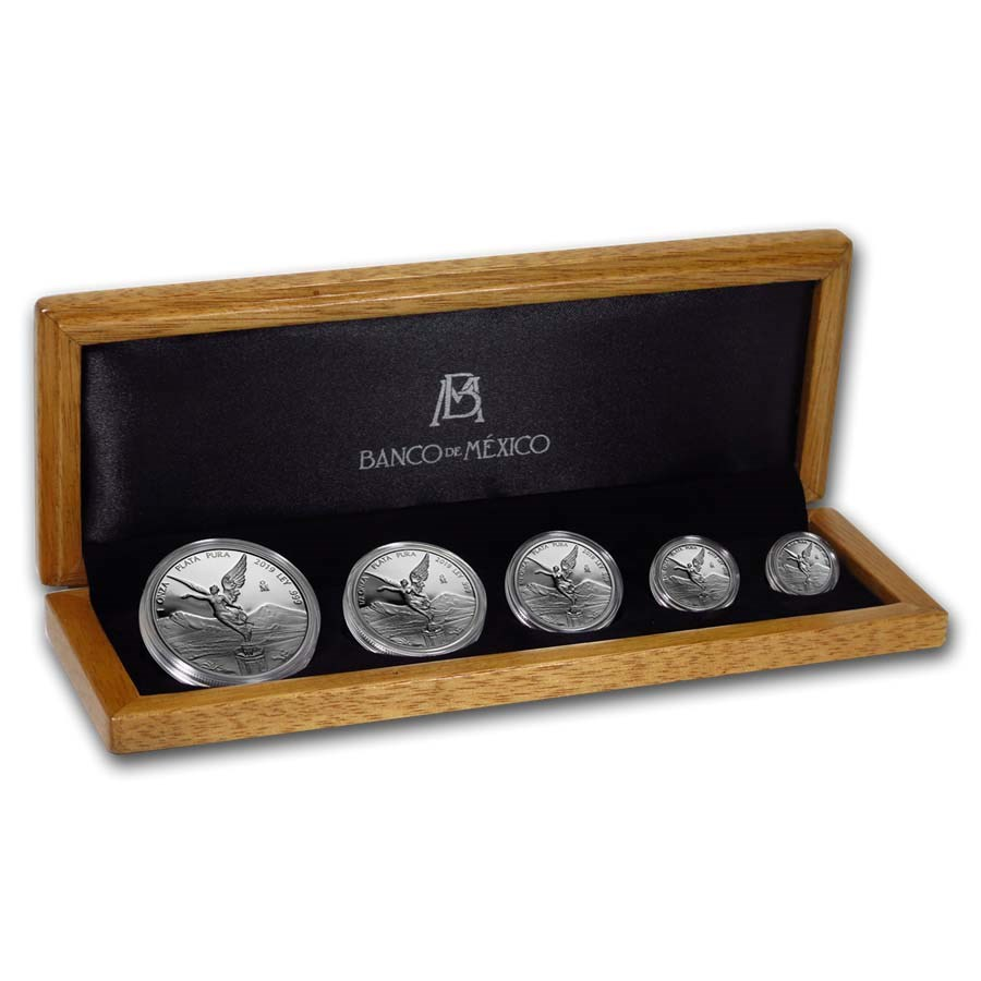 2019 Mexico 5-Coin Silver Libertad Proof Set (1.9 oz, Wood Box)