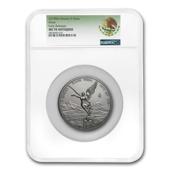 2019 Mexico 5 oz Silver Libertad Antiqued Finish MS-70 NGC (ER)