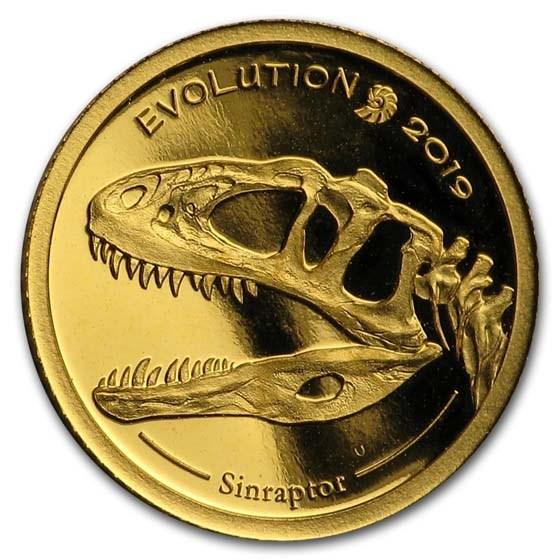 2019 Mongolia 1/2 gram Proof Gold Evolution (Sinraptor)