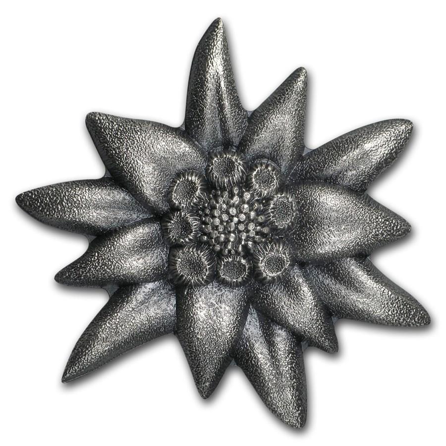 2019 Mongolia 1 oz Antique Silver Edelweiss: Mountain Star