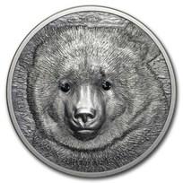 2019 Mongolia 1 oz Antique Silver Wildlife Protection Gobi Bear