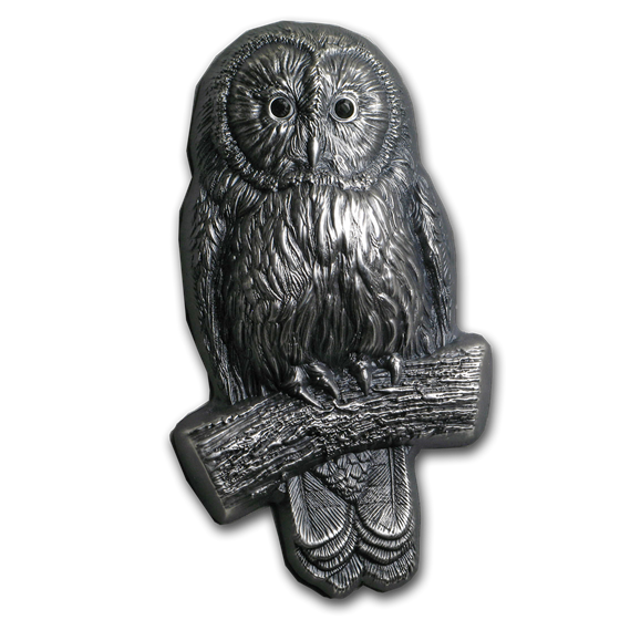 2019 Mongolia 2 oz Silver 3D Mongolian Wildlife Shaped Ural Owl