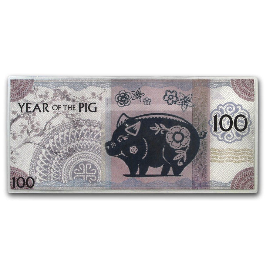 2019 Mongolia Lunar Year of the Pig Silver Note