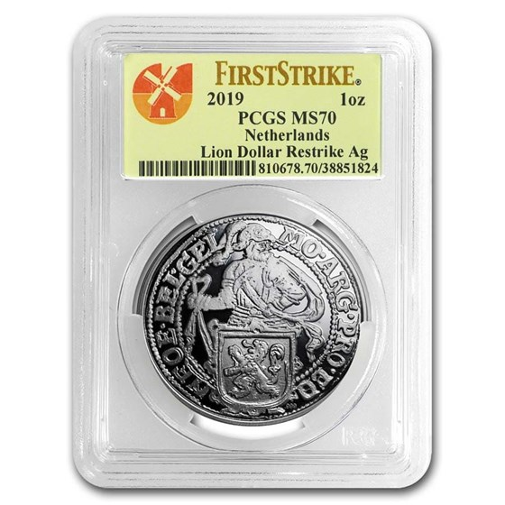 2019 Netherlands 1 oz Silver Lion Dollar MS-70 PCGS (FS)