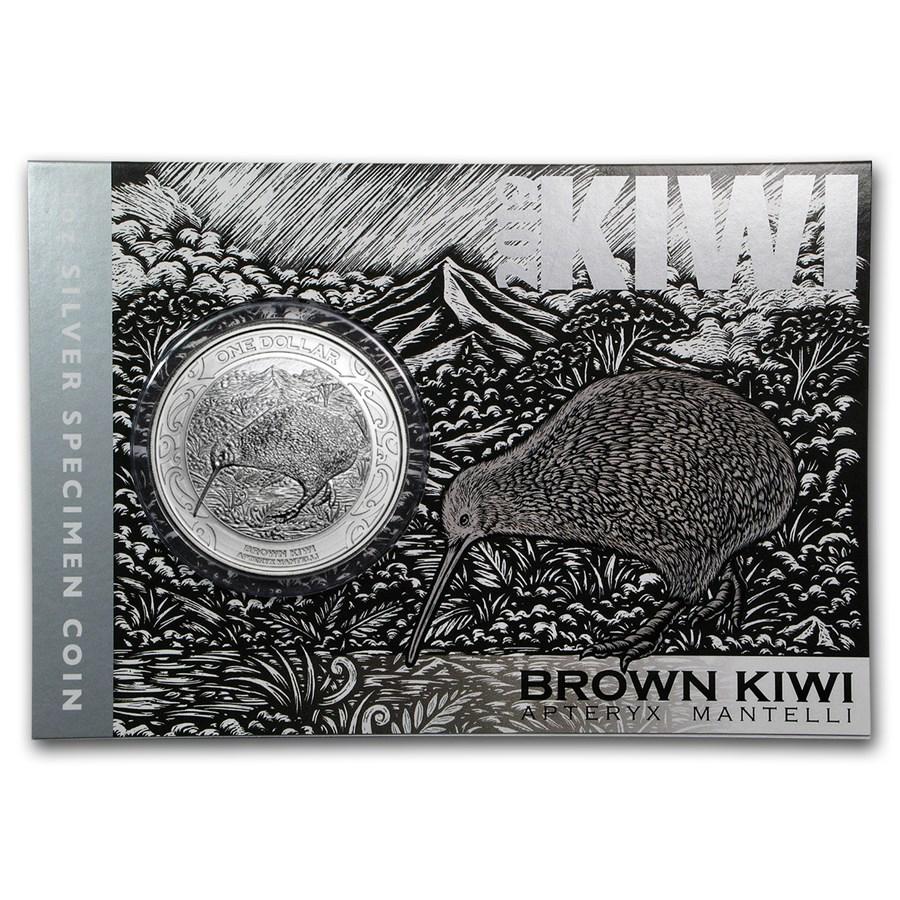 2019 New Zealand 1 oz Silver Kiwi Specimen (Display Card)
