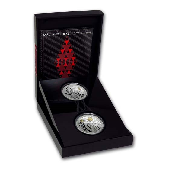 2019 New Zealand 2-Coin Silver Maui and The Goddess of Fire Set