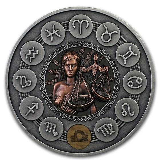 2019 Niue 1 oz Antique Silver Zodiac Signs: Libra