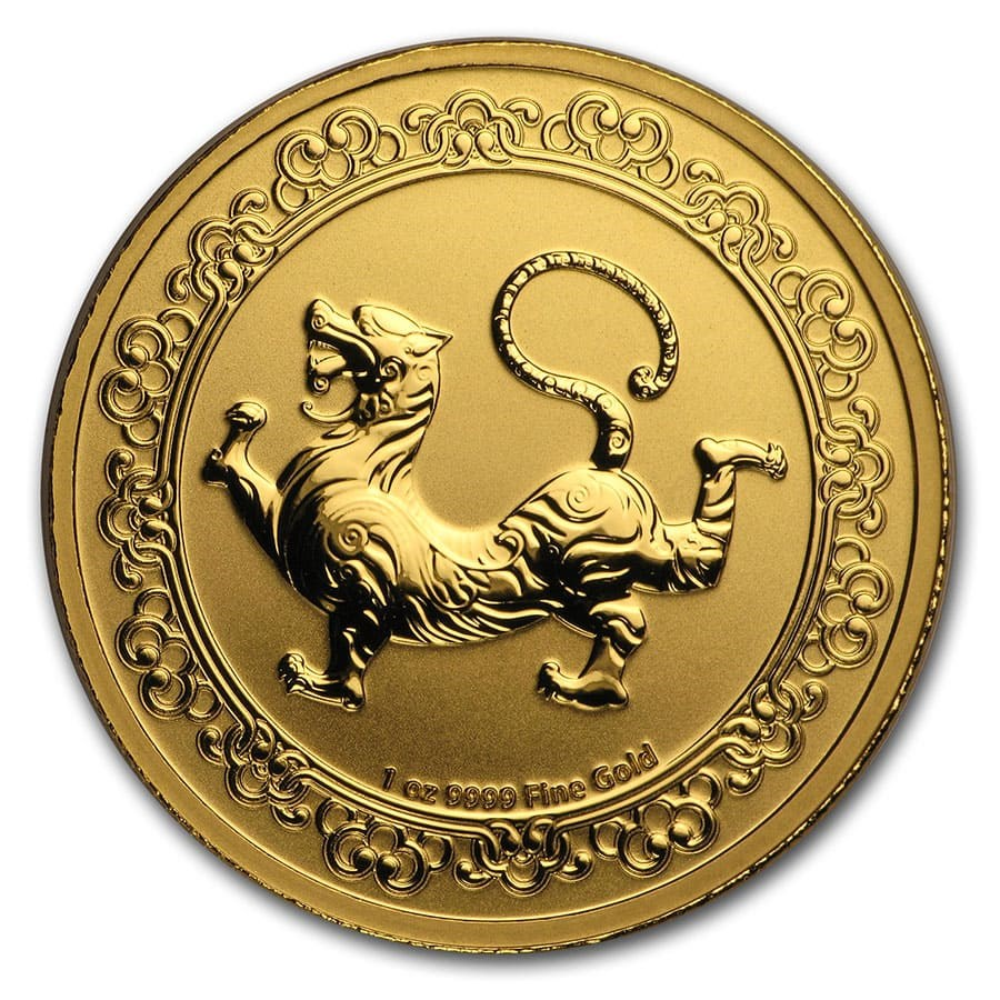 2019 Niue 1 oz Gold $250 Celestial Animals Tiger (w/Box & COA)
