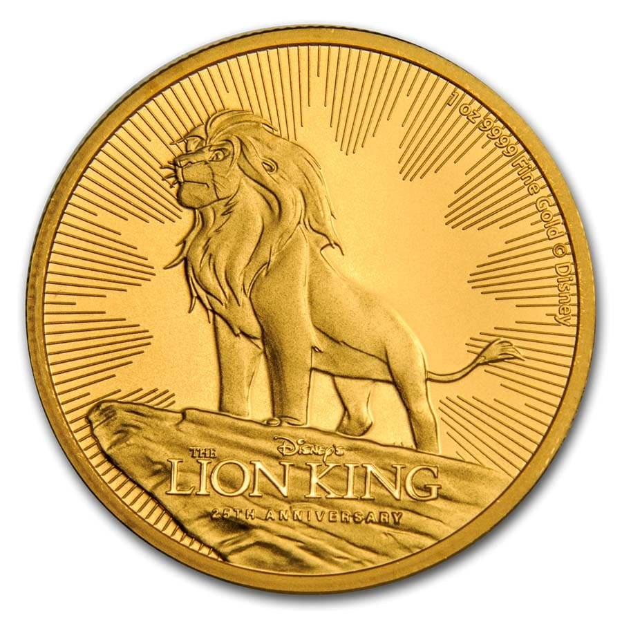2019 Niue 1 oz Gold $250 Disney Lion King 25th Anniversary BU