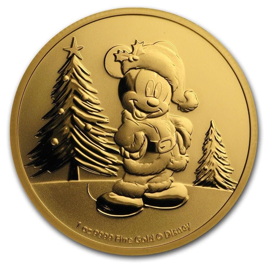 2019 Niue 1 oz Gold $250 Disney Mickey Mouse Christmas BU