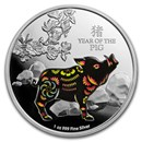 2019 Niue 1 oz Silver $2 Colorized Lunar Year of the Pig