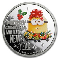 2019 Niue 1 oz Silver $2 Despicable Me: Christmas Minion Proof