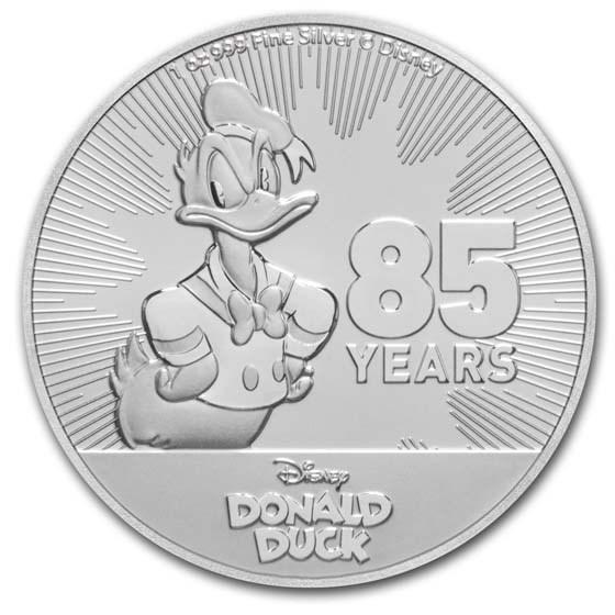 2019 Niue 1 oz Silver $2 Disney Donald Duck 85th Anniversary BU