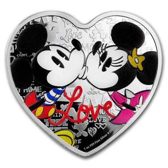 2019 Niue 1 oz Silver $2 Disney Heart-Shaped Love Coin Proof