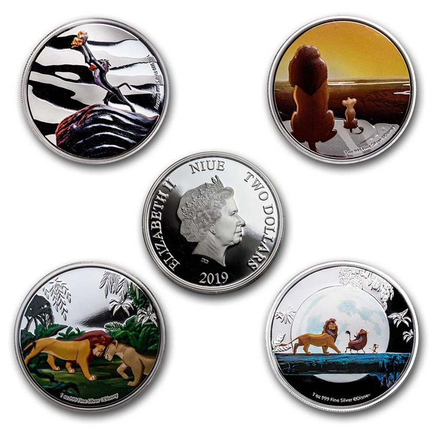 2019 Niue 1 oz Silver $2 Disney's The Lion King 4-Coin Set Proof