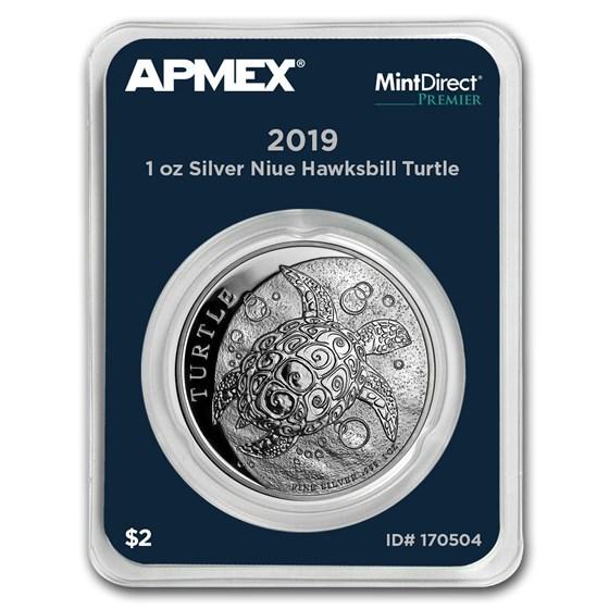 2019 Niue 1 oz Silver $2 Hawksbill Turtle (MintDirect® Premier)