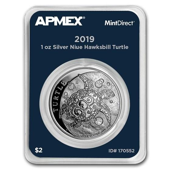 2019 Niue 1 oz Silver $2 Hawksbill Turtle (MintDirect® Single)