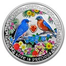 2019 Niue 1 oz Silver $2 Love is Precious Bluebirds