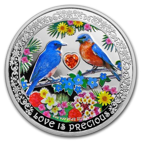 2019 Niue 1 oz Silver $2 Love is Precious Bluebirds