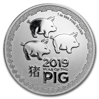 2019 Niue 1 oz Silver $2 Lunar Year of the Pig BU