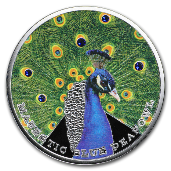 2019 Niue 1 oz Silver Majestic Blue Peafowl