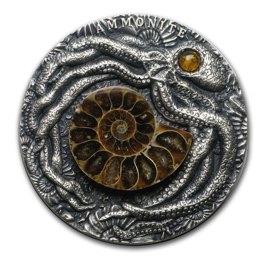 2019 Niue 2 oz Antique Silver Fossil - Ammonite