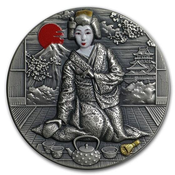2019 Niue 2 oz Antique Silver Japanese Culture: Geisha