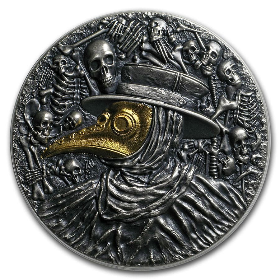 2019 Niue 2 oz Antique Silver Mask of Plague Doctor