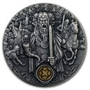 2019 Niue 2 oz Antique Silver Slavic Gods: Svetovid God of War