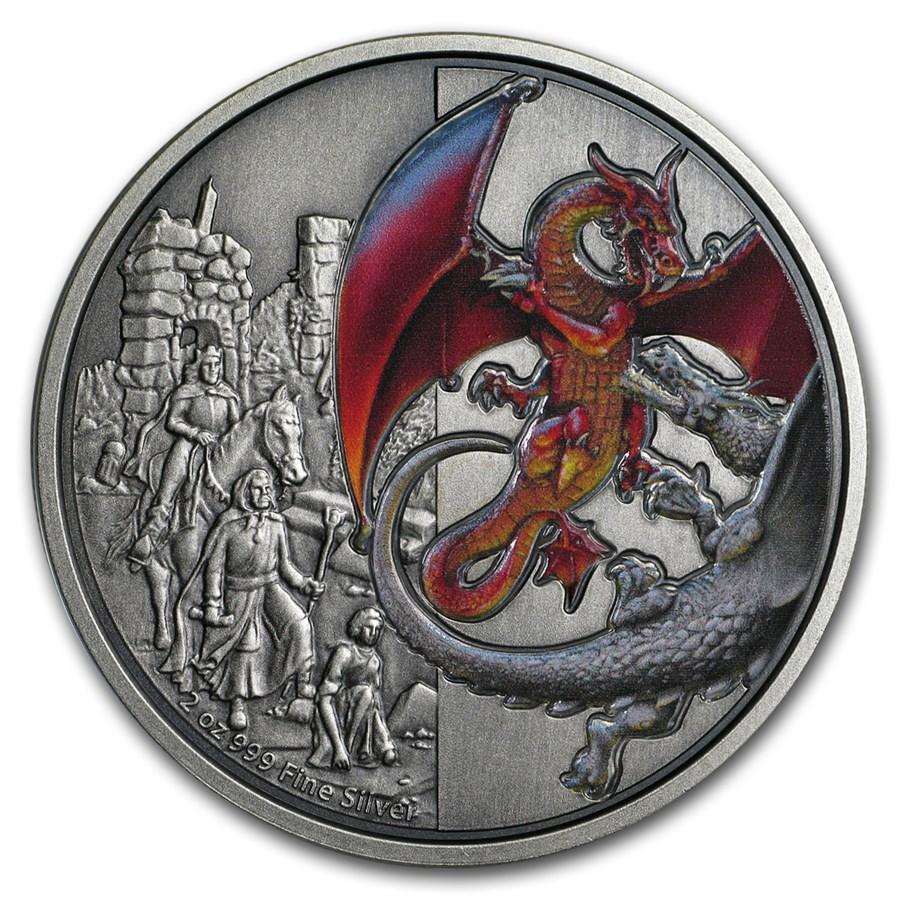 2019 Niue 2 oz Silver $5 Dragons: The Red Dragon