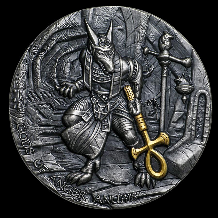 2019 Niue 2 oz Silver Antique Gods of Anger (Anubis)