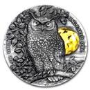 2019 Niue 2 oz Silver Wildlife in the Moonlight: Long-Eared Owl