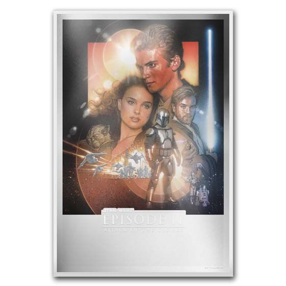 2019 Niue 35 g Silver $2 Star Wars Attack of the Clones Poster