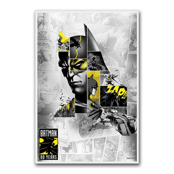 2019 Niue 5 gram Silver $1 Batman 80th Anniversary Foil Note