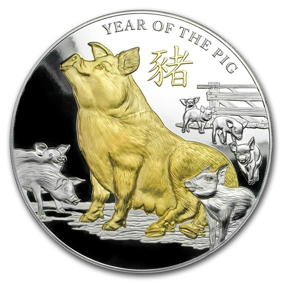 2019 Niue 5 oz Silver Year of the Pig Proof (Gilded)
