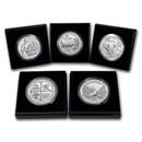 2019-P 5-Coin 5 oz Silver Burnished ATB Set (w/Box & COA)