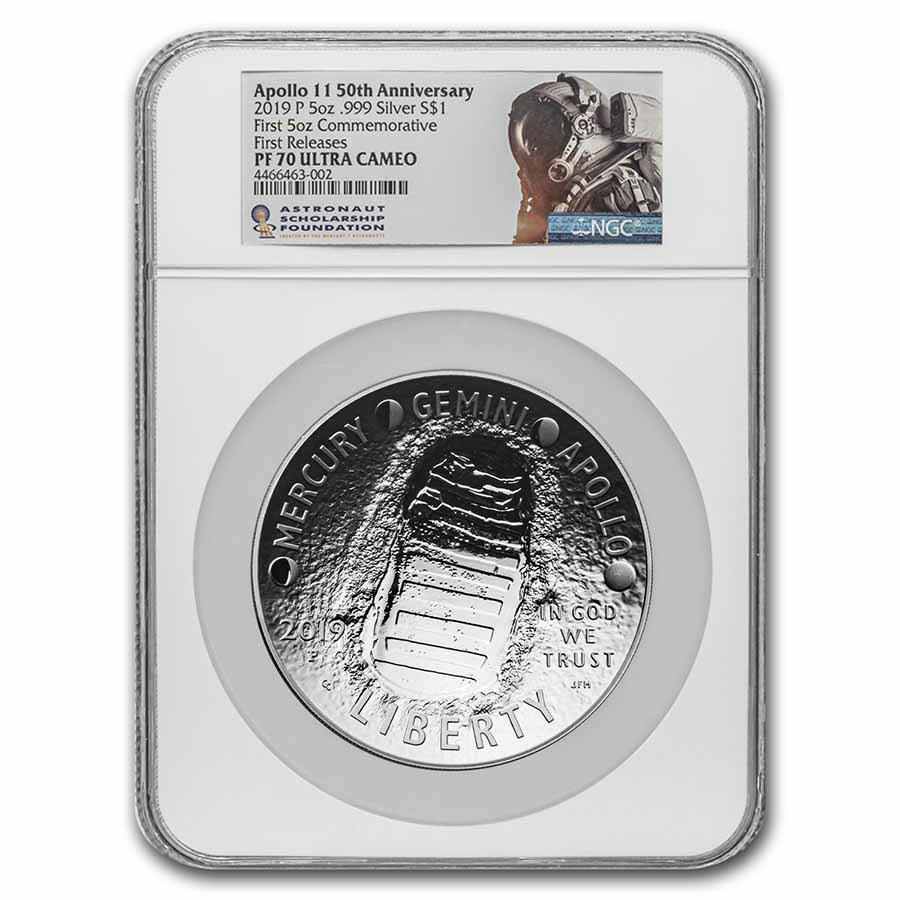 2019-P Apollo 11 50th Anniversary $1 5 oz Silver PF-70 NGC (FR)