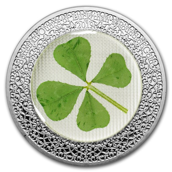 2019 Palau 1 oz Silver $5 Four-Leaf Clover Ounce of Luck Proof